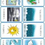 Use this mini weather book to learn Chinese weather.